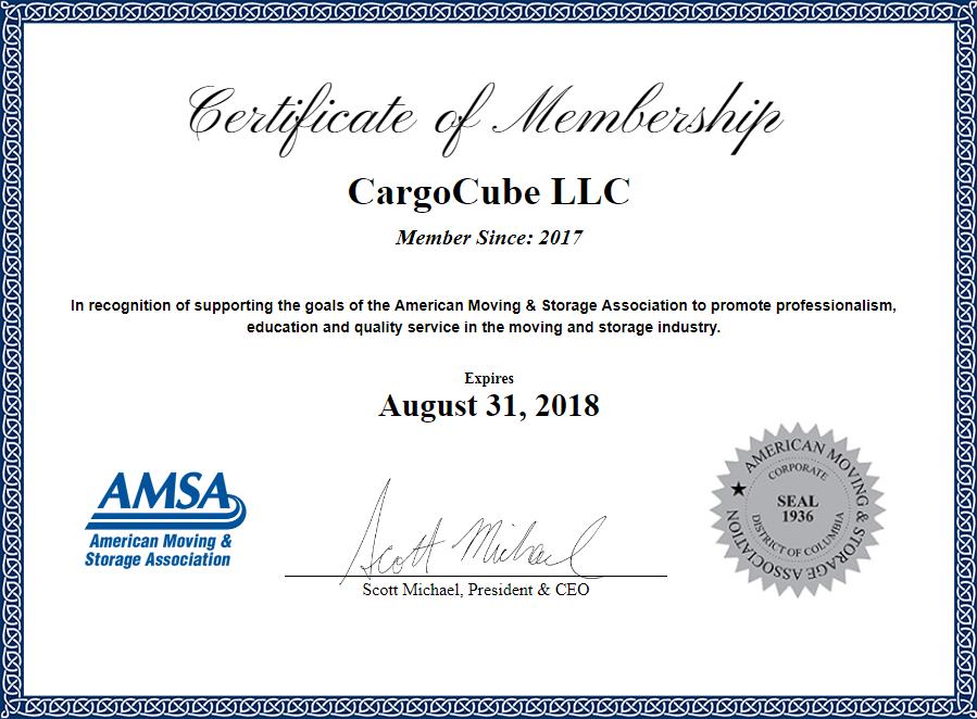 Cargocube Amsa Membership Certificate Cargocube